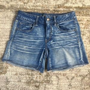 Super super stretch denim midi shorts